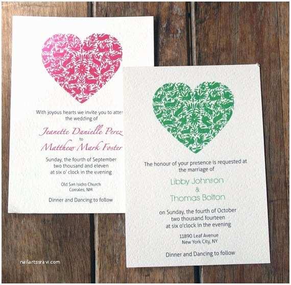 Mexican Wedding Invitations Modern Wedding Invitations Folk Art Wedding Invitation