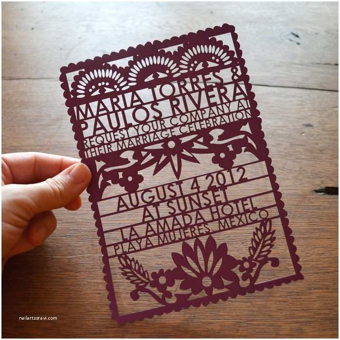 Mexican Wedding Invitations Papel Picado Wedding Invitations From Avie Designs