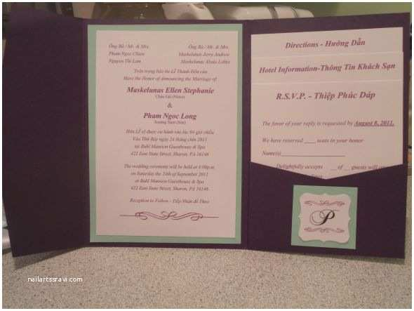 Michaels Do It Yourself Wedding Invitations Diy Pocketfold Invite In English Vietnamese