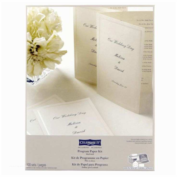 Michaels Printable Wedding Invitations Celebrate It™ Occasions™ Half Fold Program Paper Kit Ivory