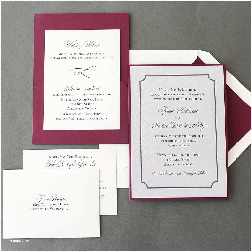 Michaels Printable Wedding Invitations Jane & Michael S Silver Letterpress Wedding Invitations