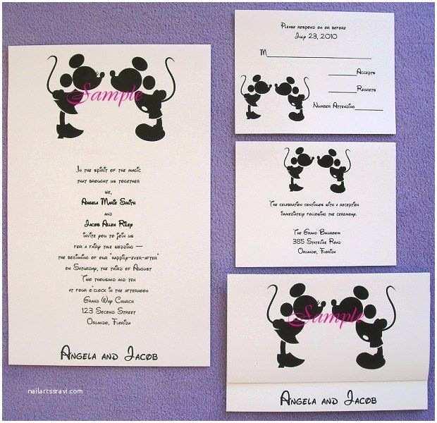 Mickey and Minnie Wedding Invitation 100 Personalized Custom Mickey and Minnie Disney Kissing