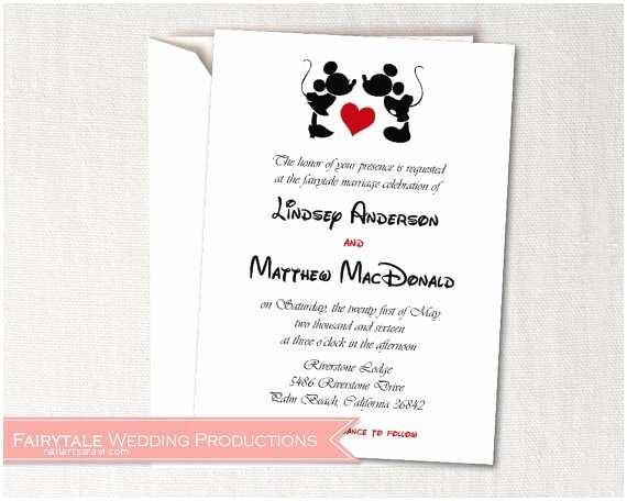 Mickey and Minnie Wedding Invitation Disney Fairytale Wedding Mickey Minnie Mouse Save the D