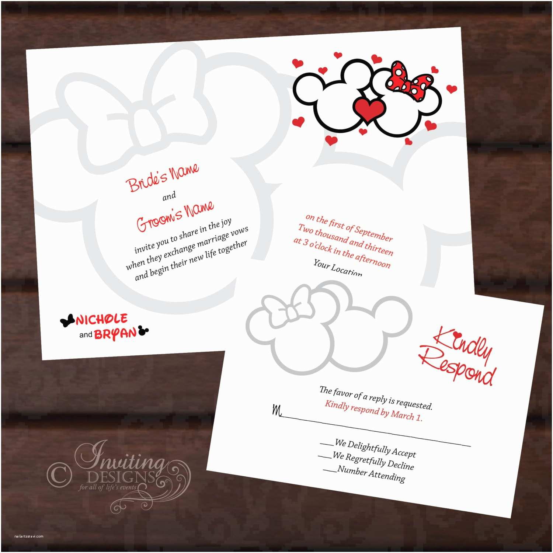 Mickey and Minnie Wedding Invitation Mickey and Minnie Custom Wedding Invitation & by