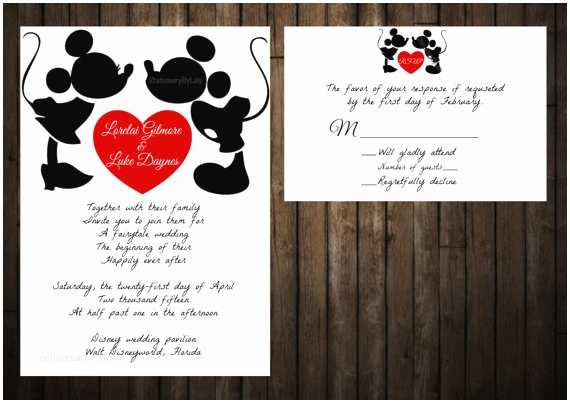 Mickey and Minnie Wedding Invitation Mickey and Minnie Wedding Invitation Disney by
