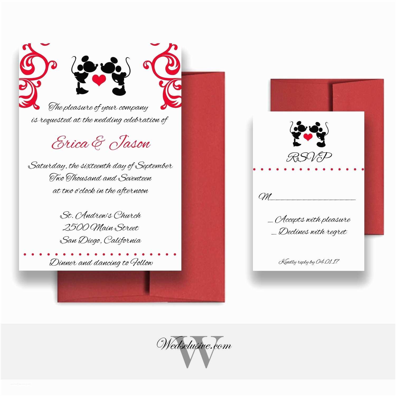 Mickey and Minnie Wedding Invitation Mickey and Minnie Wedding Invitations Disney Weddings