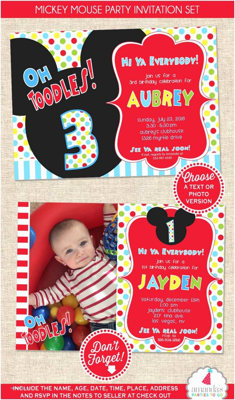 Mickey Birthday Invitations Mickey Mouse Birthday Invitation Mickey Mouse Party