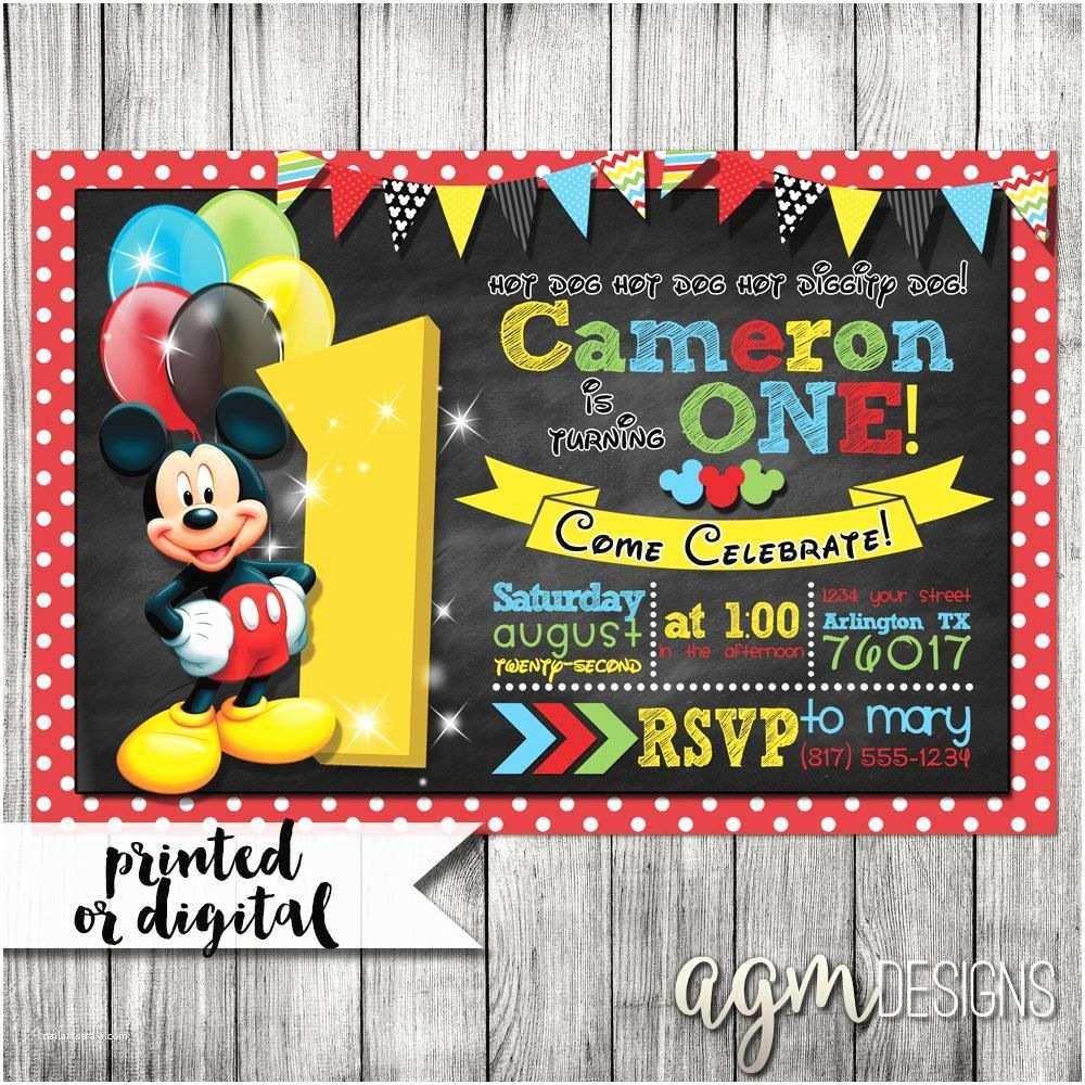 Mickey Birthday Invitations Mickey Mouse Invitation Mickey Mouse 1st Birthday Mickey
