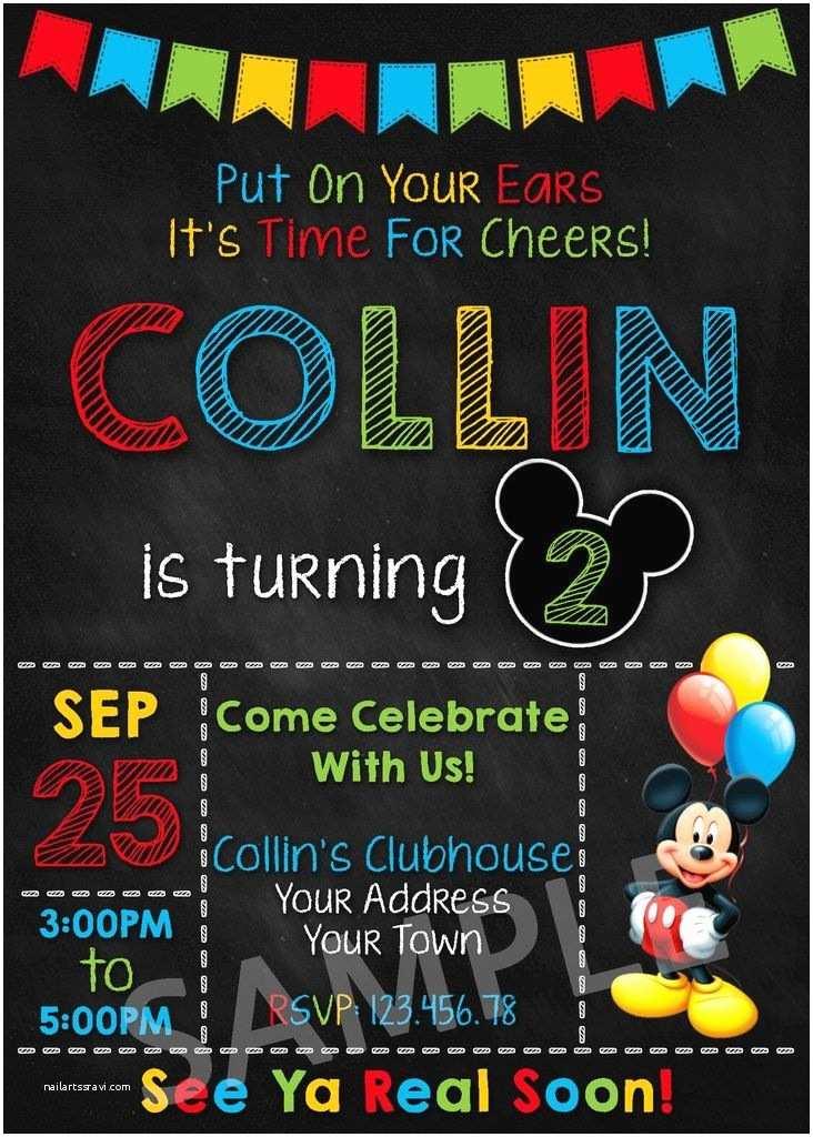 Mickey Birthday Invitations Mickey Mouse Party Invitation Mickey Mouse Invitation
