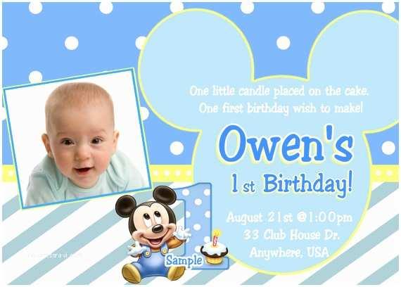 Mickey Mouse 1st Birthday Invitations Baby Mickey 1st Birthday Invitation Baby Mickey Mouse
