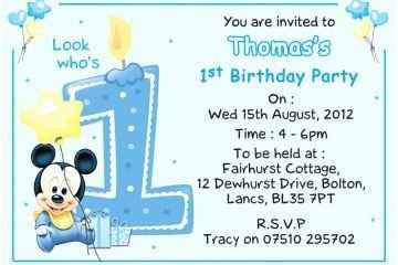 Mickey Mouse 1st Birthday Invitations Baby Mickey 1st Birthday