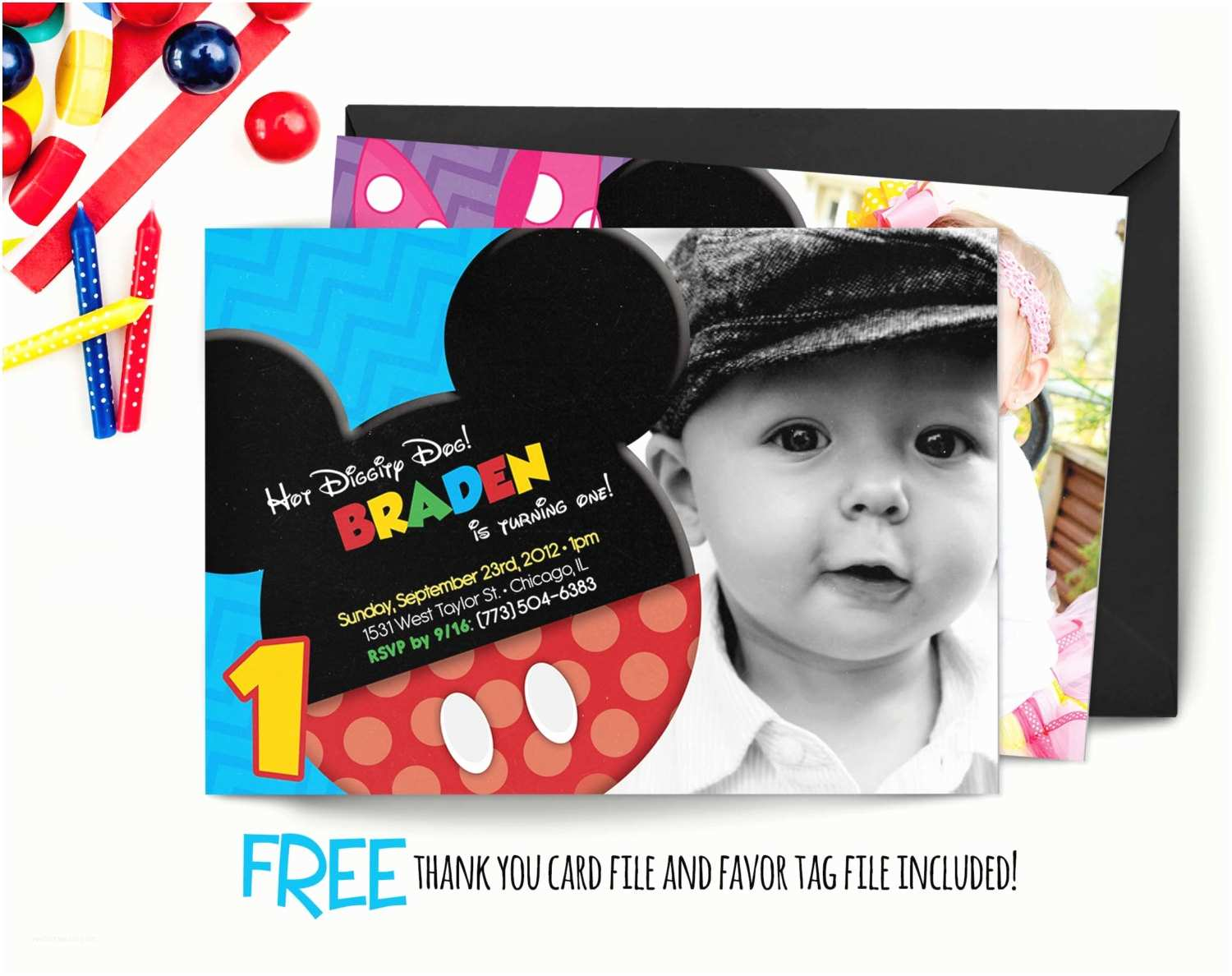Mickey Mouse 1st Birthday Invitations Chandeliers & Pendant Lights