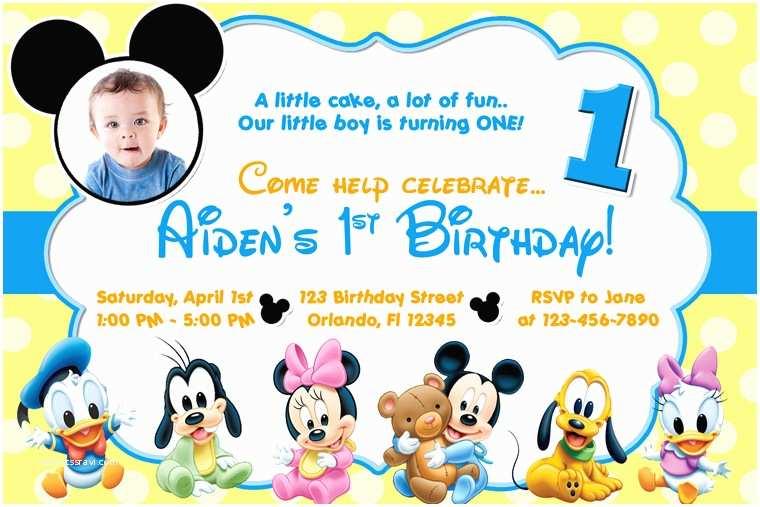 Mickey Mouse 1st Birthday Invitations Free Mickey Mouse Clubhouse 1st Birthday Invitations