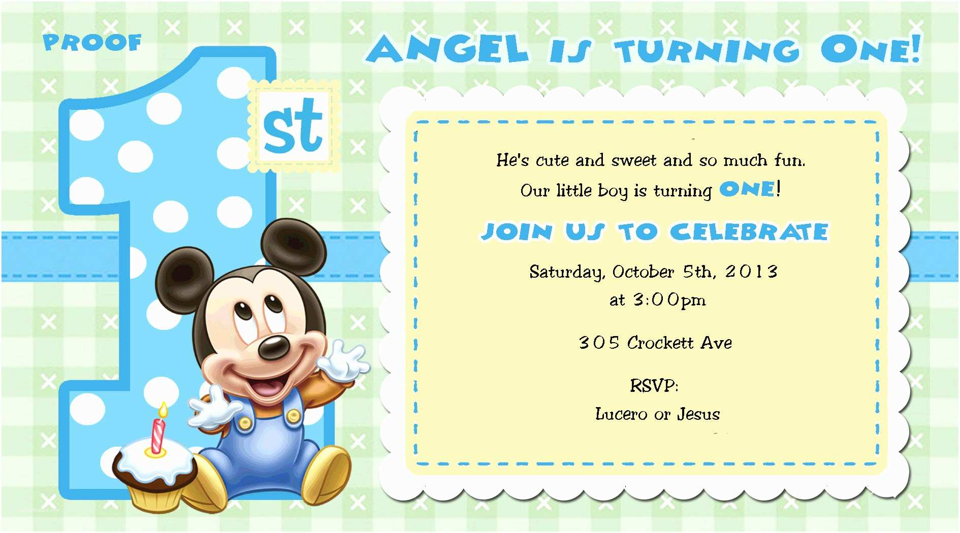 Mickey Mouse 1st Birthday Invitations For Girls And Boys