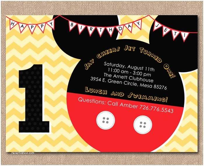 Mickey Mouse 1st Birthday Invitations Mickey Mouse 1st Birthday Invitations Ideas – Bagvania