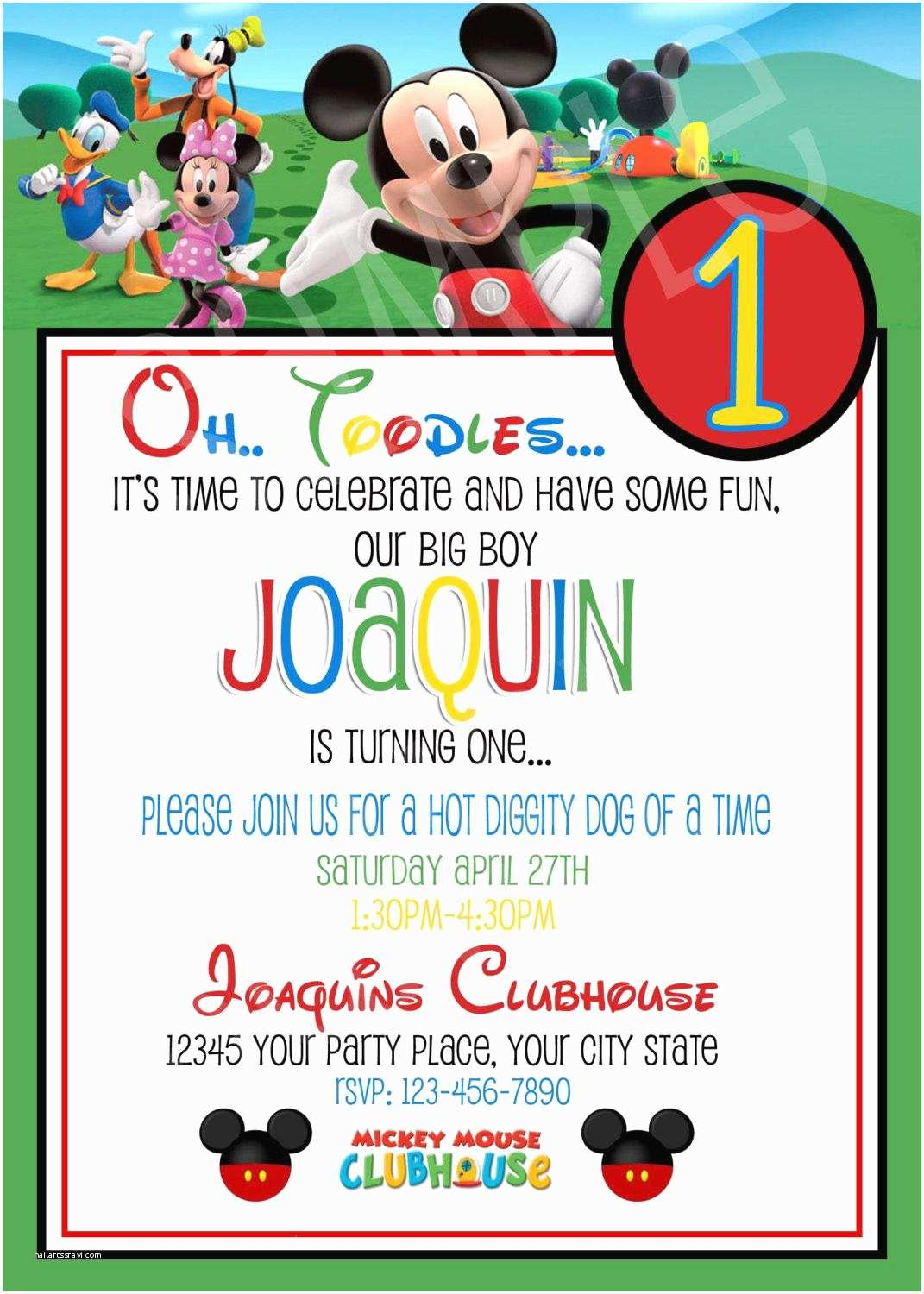Mickey Mouse 1st Birthday Invitations Clubhouse Invitation