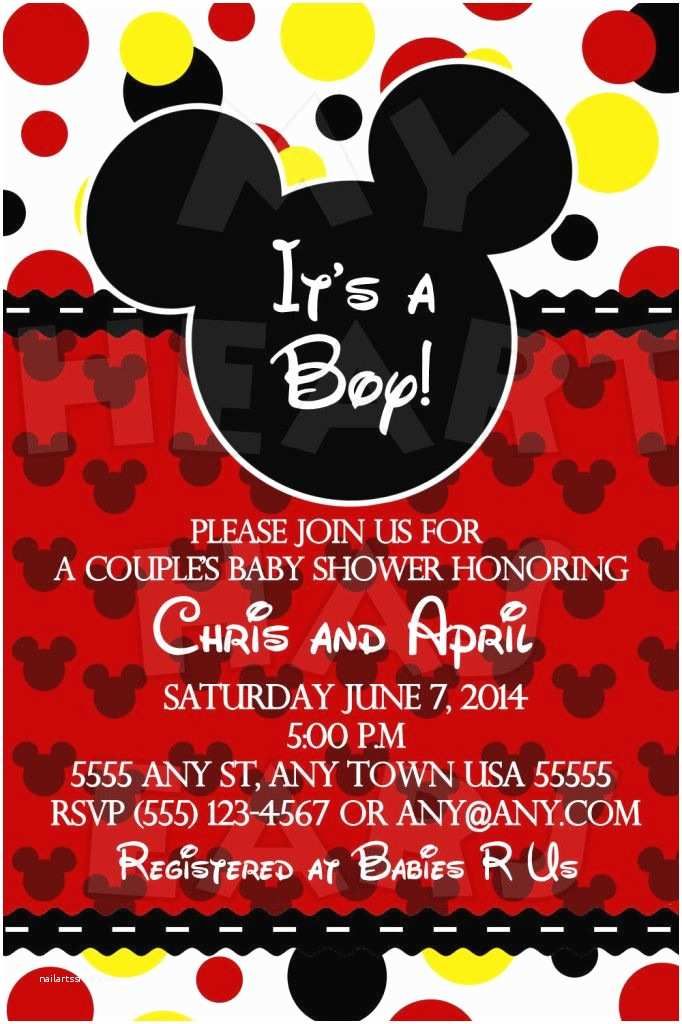 Mickey Mouse Baby Shower Invitations 25 Best Ideas About Mickey Mouse Baby Shower On Pinterest