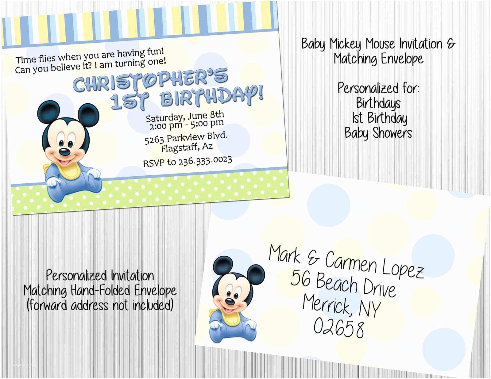 Mickey Mouse Baby Shower Invitations Baby Mickey Mouse Invitation Set Envelopes Birthday