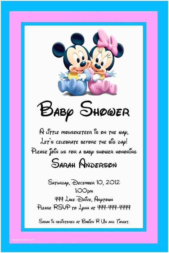 Mickey Mouse Baby Shower Invitations Free Printable Baby Shower Invitations Twins