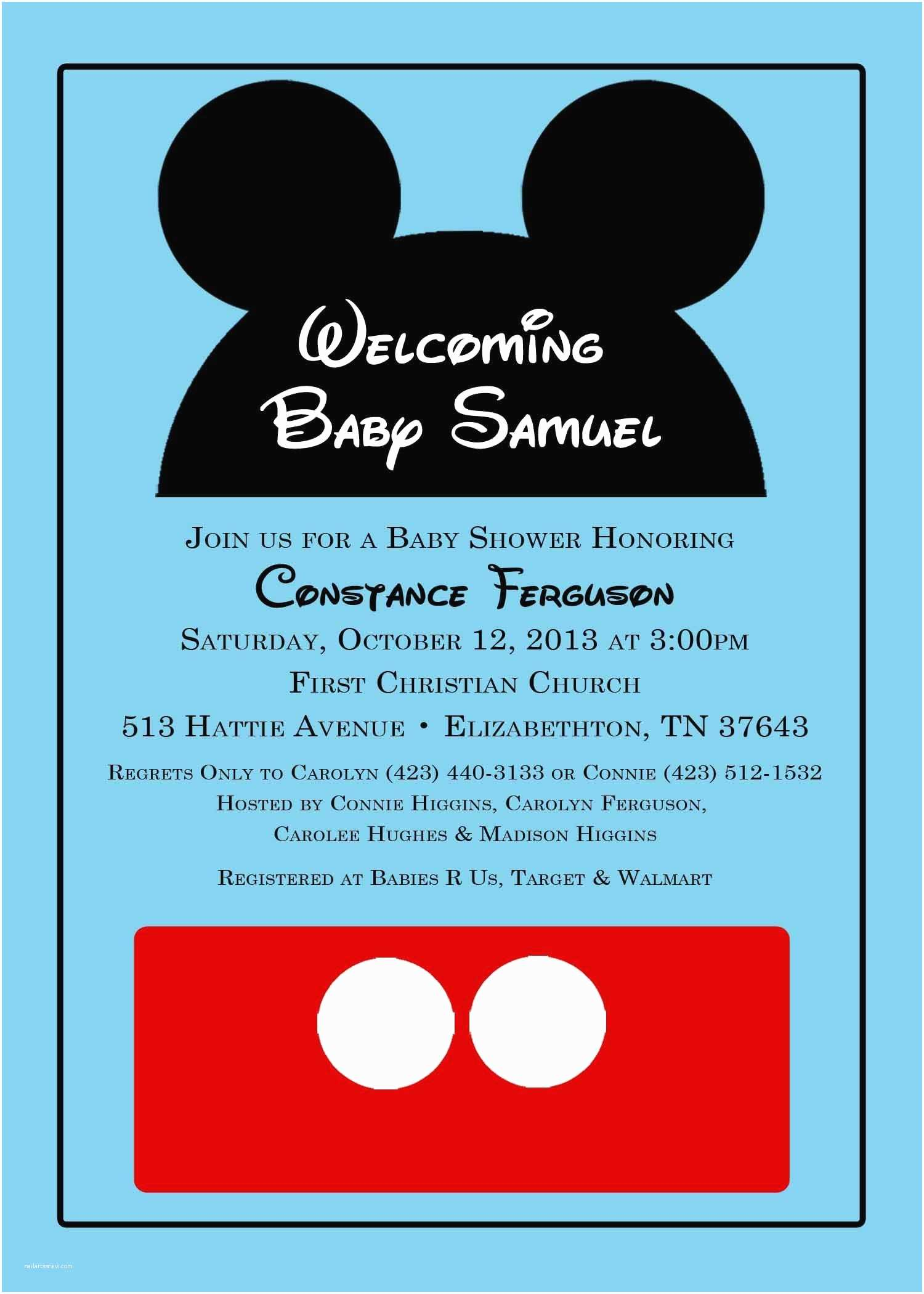 Mickey Mouse Baby Shower Invitations Mickey Mouse Baby Shower Invitation From Katedidesign On