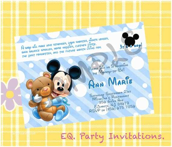 Mickey Mouse Baby Shower Invitations Mickey Mouse Baby Shower Invitation Printable by
