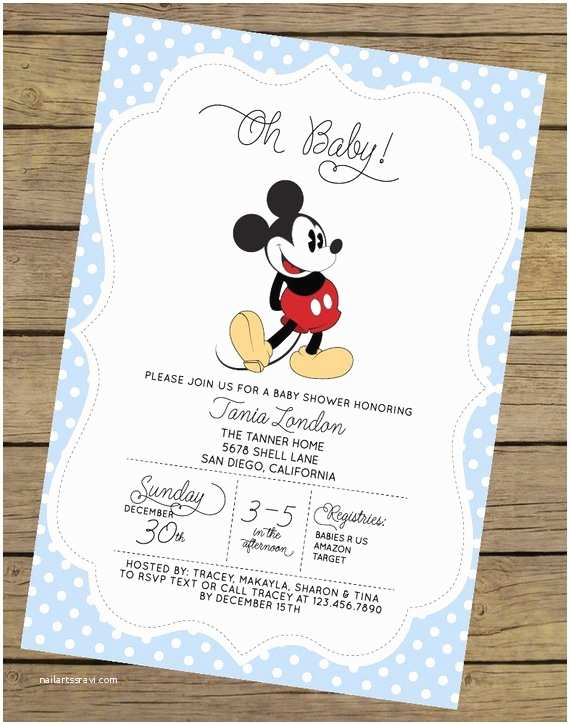 Mickey Mouse Baby Shower Invitations Printable Mickey Mouse Baby Shower Invitation Boy Baby by