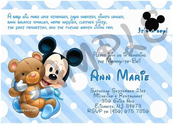 Mickey Mouse Baby Shower Invitations Printable Mickey Mouse Baby Shower Invitation by Eqpartyinvitations