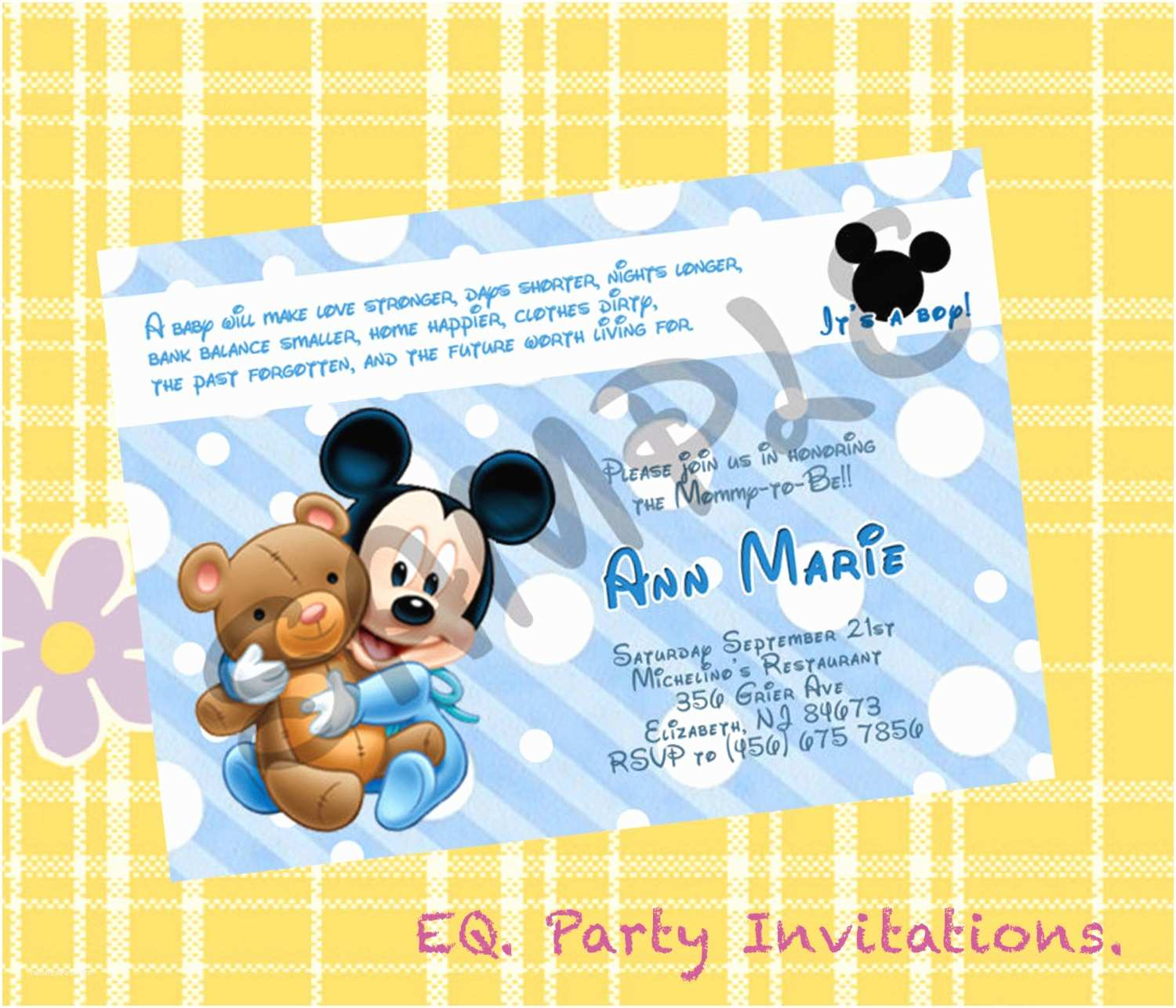 Mickey Mouse Baby Shower Invitations Printable Mickey Mouse Baby Shower Invitation Printable by