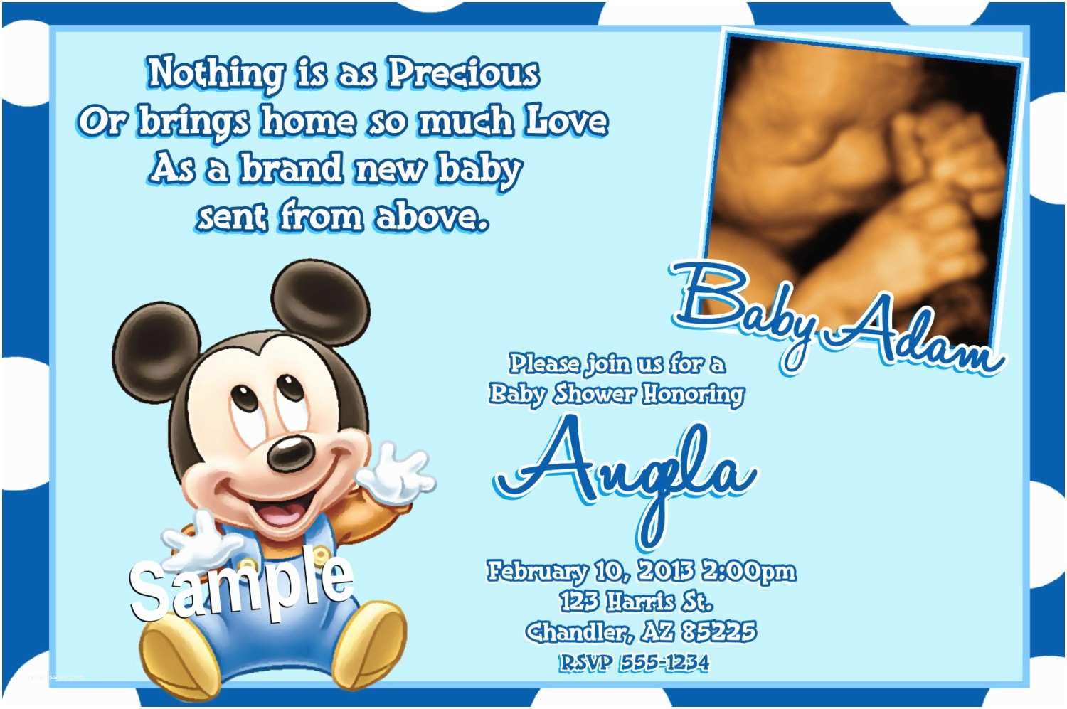 Mickey Mouse Baby Shower Invitations Printable Mickey Mouse Baby Shower Invitations Baby by