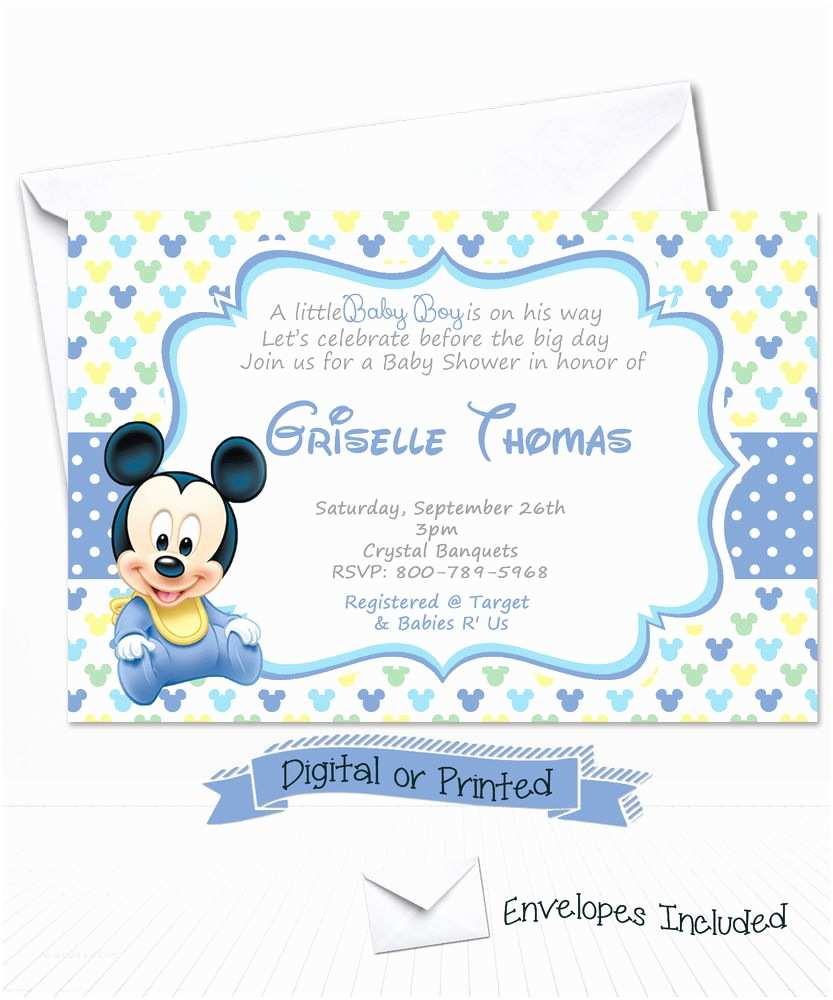 Mickey Mouse Baby Shower Invitations Printed Baby Mickey Mouse Baby Shower Invitations Baby