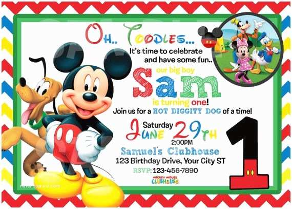 Mickey Mouse Birthday Invitation Free Printable Mickey Mouse 1st Birthday Invitations