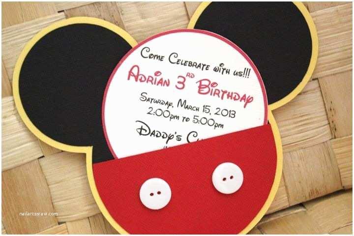 Mickey Mouse Birthday Invitation Handmade Mickey Mouse Invitations for Birthdays Baby
