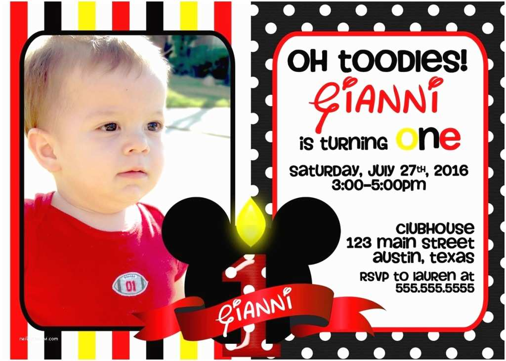 Mickey Mouse Birthday Invitation 1st Invitations Ideas Bagvania