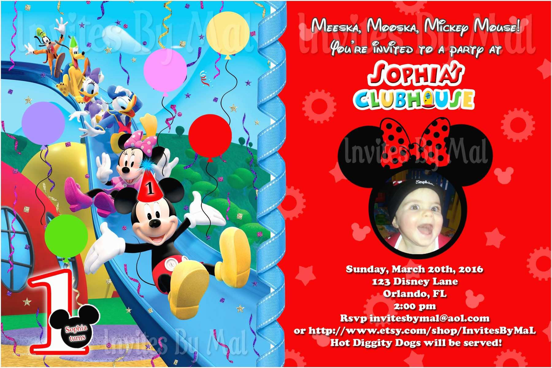 Mickey Mouse Birthday Invitation 1st Invitations