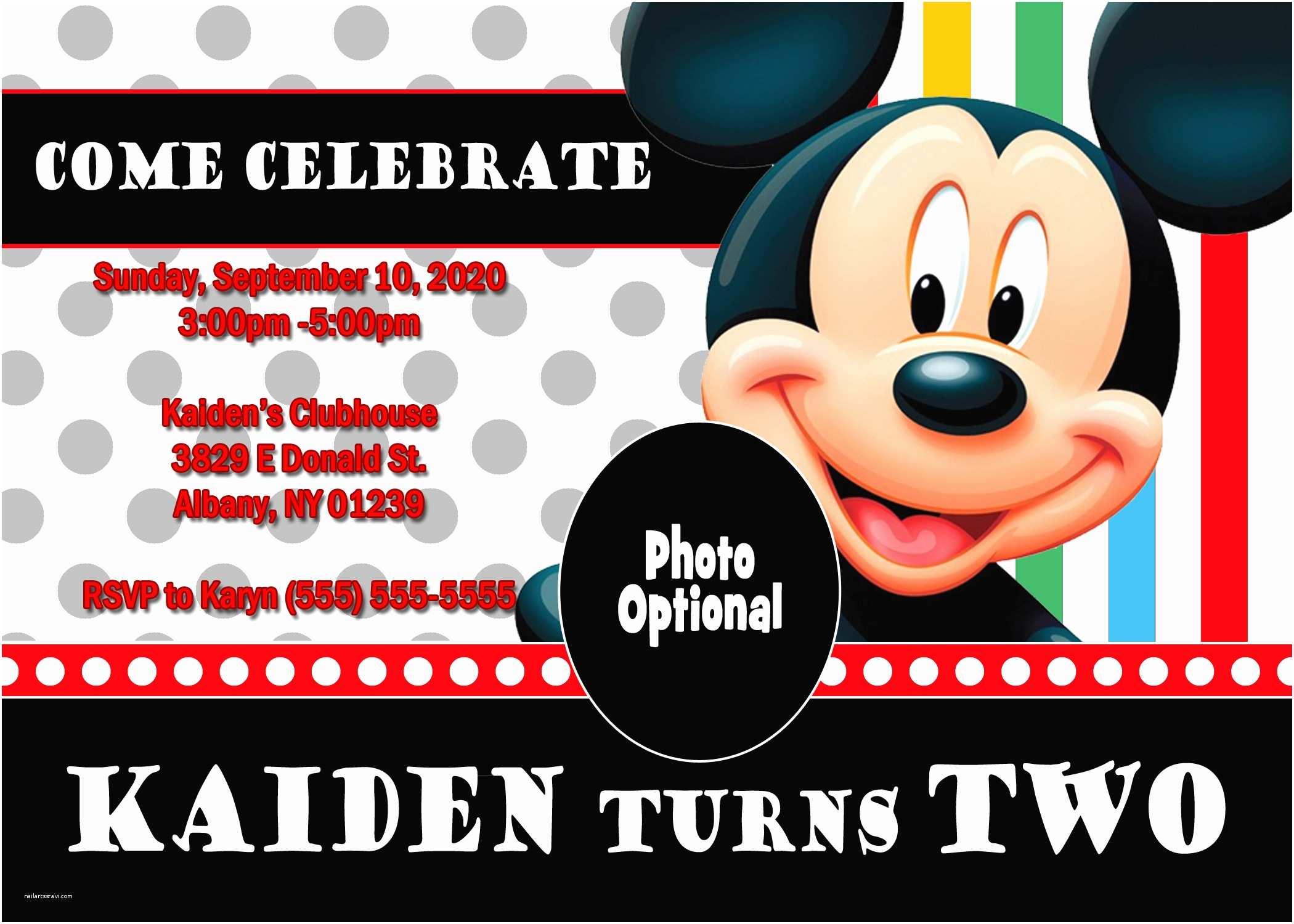 Mickey Mouse Birthday Invitation Mickey Mouse and Mickey Mouse Clubhouse Birthday