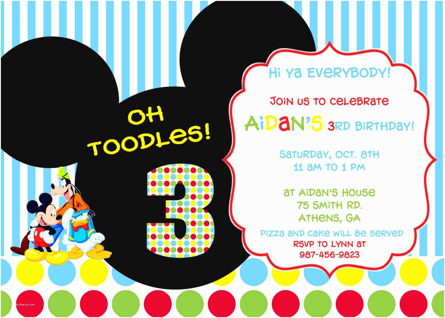 Mickey Mouse Birthday Invitation Mickey Mouse Clubhouse Party Invitations