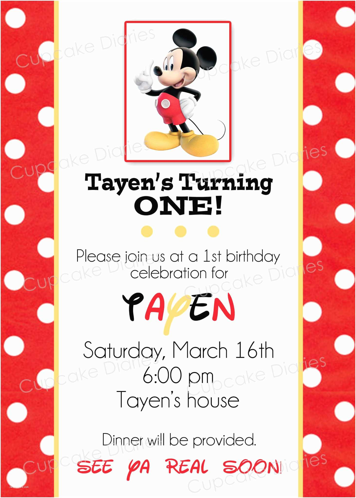 Mickey Mouse Birthday Invitation Simple Mickey Mouse Birthday Party Free Subway Art