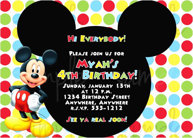 Mickey Mouse Birthday Invitations Free Mickey Mouse First Birthday Invitations Template