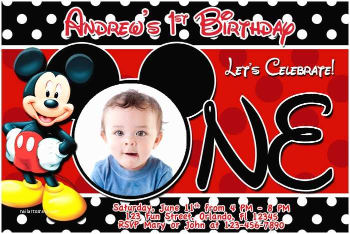 Mickey Mouse Birthday Invitations Free Printable Mickey Mouse 1st Birthday Invitations