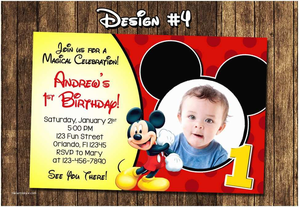 Mickey Mouse Birthday Invitations Mickey Mouse Baby First Birthday Party Invitations