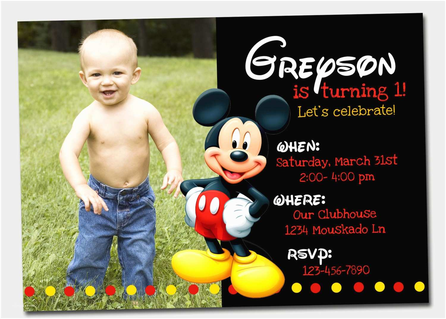 Mickey Mouse Birthday Invitations Mickey Mouse Invitation