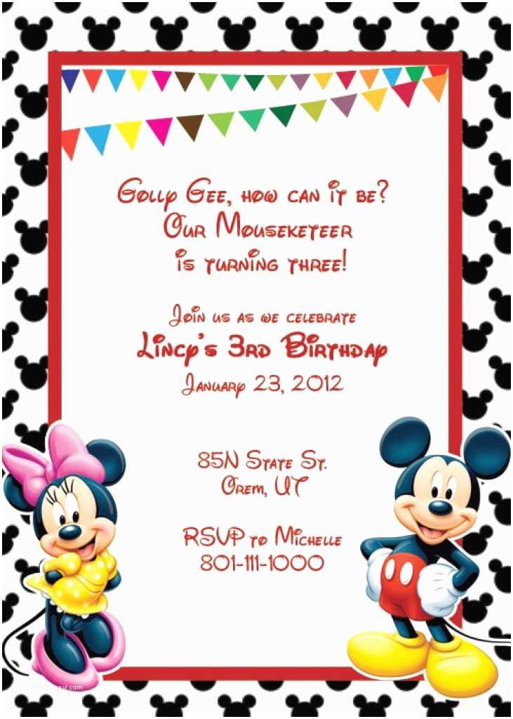 Mickey Mouse Birthday Invitations Free First