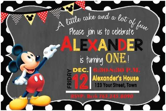 Mickey Mouse Birthday Party Invitations 30 Mickey Mouse Invitation Template