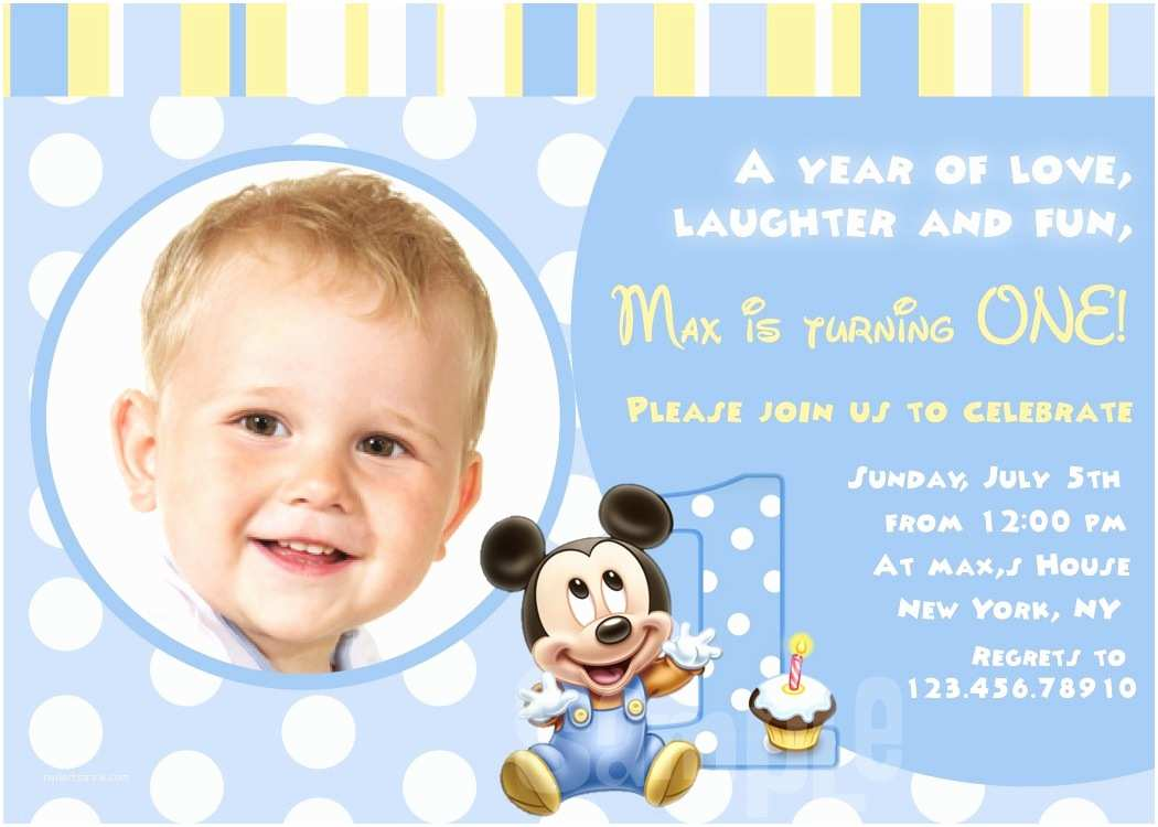 Mickey Mouse Birthday Party Invitations Baby First Birthday Invitations – Bagvania Free Printable