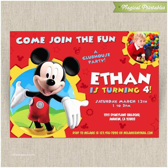 Mickey Mouse Birthday Party Invitations Disney Mickey Mouse Clubhouse Customizable Printable Party