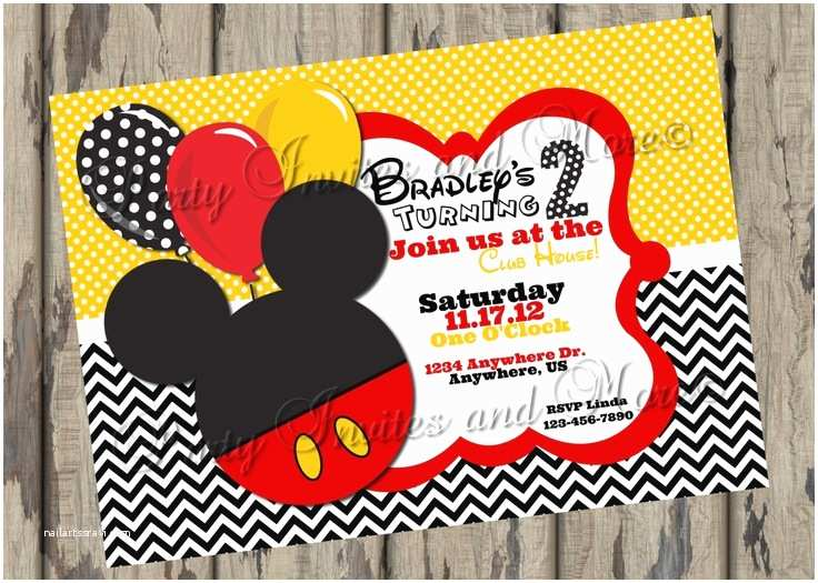 Mickey Mouse Birthday Party Invitations Foldable Printable Mickey Mouse Birthday Party Invitation