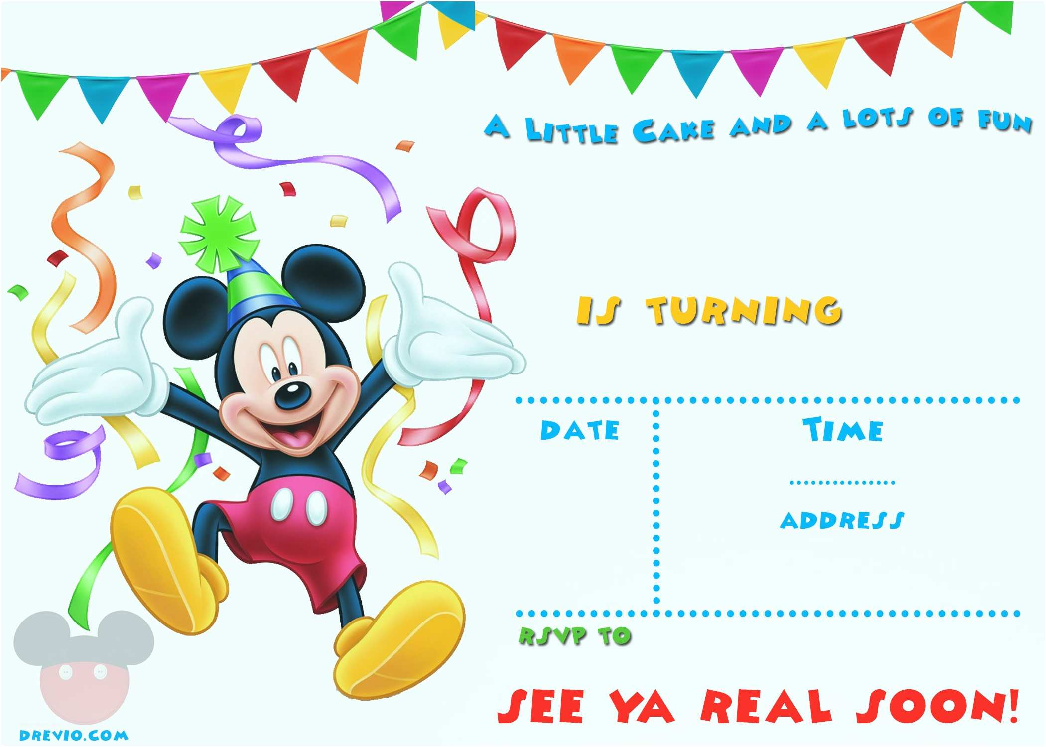 Mickey Mouse Birthday Party Invitations Free Mickey Mouse 1st Birthday Invitations – Bagvania Free