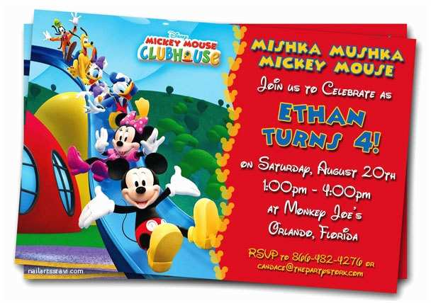 Mickey Mouse Birthday Party Invitations Free Mickey Mouse Clubhouse 1st Birthday Invitations