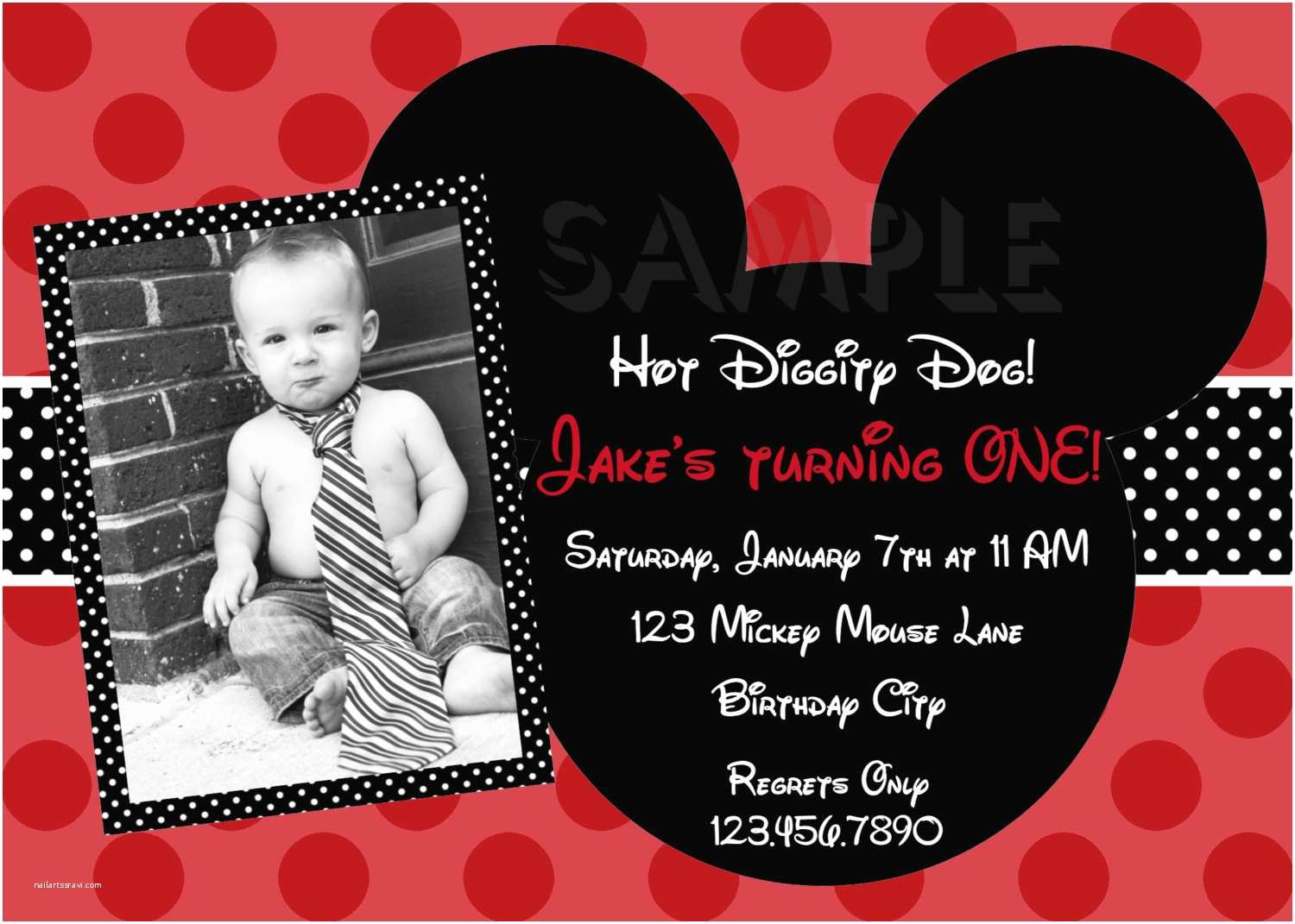 Mickey Mouse Birthday Party Invitations Free Printable 1st Mickey Mouse Birthday Invitations
