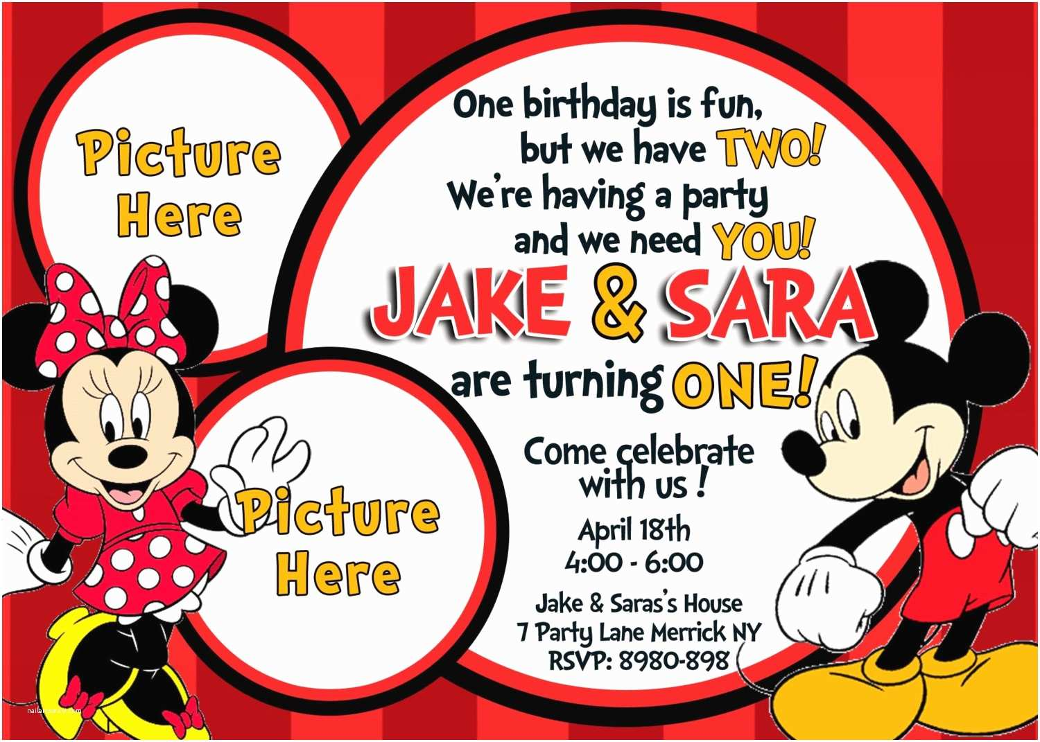 Mickey Mouse Birthday Party Invitations Mickey and Minnie Mouse Birthday Invitations – Bagvania
